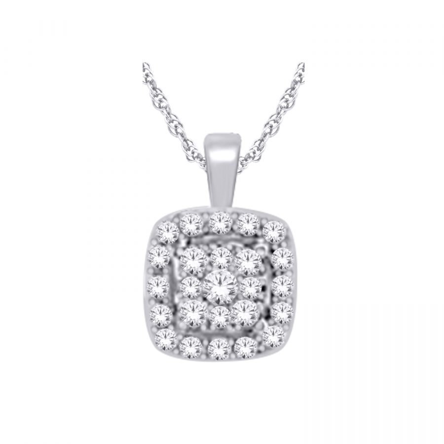 Pendant - Cluster Square 0.40 ctw diamonds in 14K White Gold 2