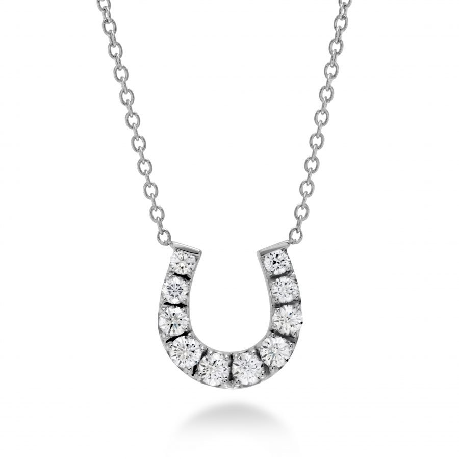 Necklace - Horseshoe with 0.46 ctw. Hearts On Fire Diamonds in 18K White Gold 2