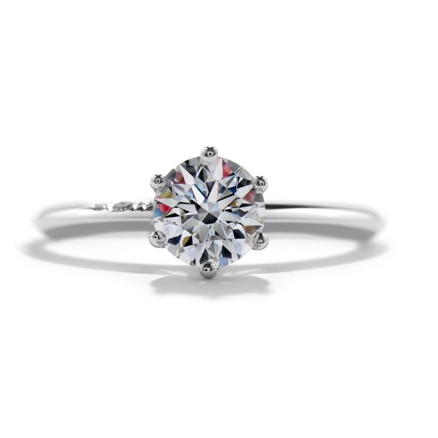 Ring - Solitaire 6 Prong 0.52 ctw. Insignia Hearts On Fire Diamonds in 18K White Gold 2