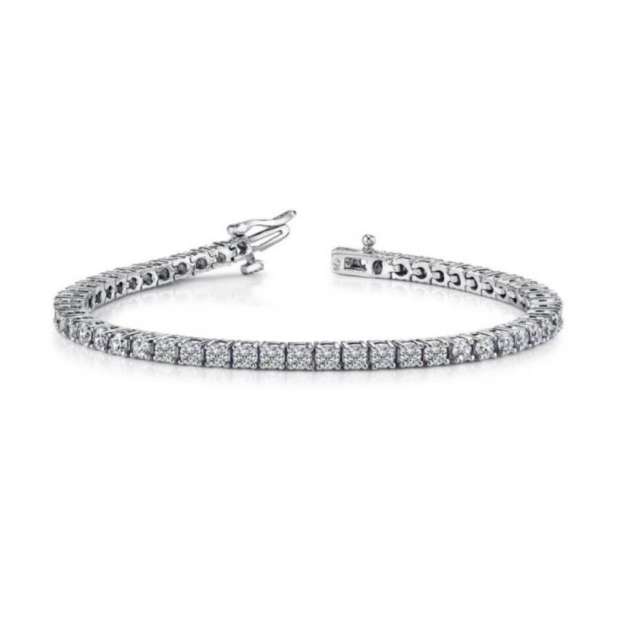 Bracelet - Prong Set 8.00 ctw diamonds Tennis Bracelet in 14k white gold 2